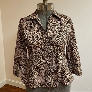 Harve Bernard Animal Print Fitted Blouse